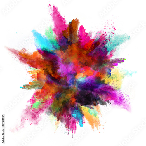 Explosion of colored powder on white background - 101215532
