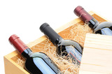 Wine Bottles in wooden crate