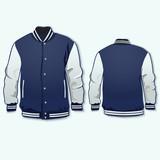 Varsity sports jacket template. Vector.