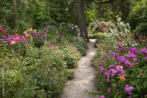 Gravel path through English garden Poster