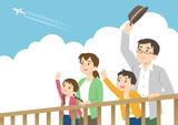家族 飛行機雲 手を振る look up at the sky