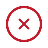 Flat red Cancel icon in circle on white