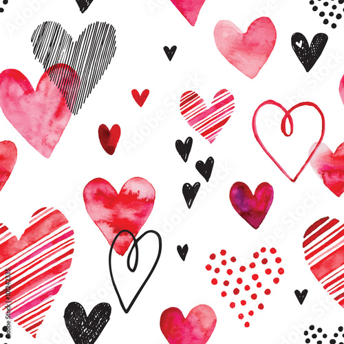 Cotton fabric Heart pattern, vector seamless background. Can be used for wedding invitation, card for Valentine's Day or card about love.