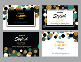 Fototapety Collection of Universal Modern Stylish Cards Templates with Gold Glitter Dots.