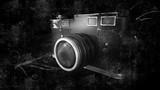 Old Vintage Photo Camera on Black Background