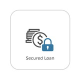 Secured Loan Icon. Flat Design.
