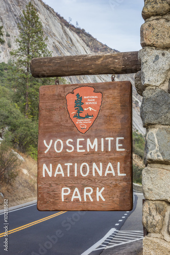 Poster Entrance sign at Yosemite National Park