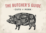 Fototapety Cut of meat set. Poster Butcher diagram, scheme and guide - Pork. Vintage typographic hand-drawn. Vector illustration.