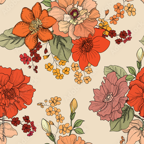 Tuinposter Abstract bloemen Floral pattern Flower seamless background pattern. Flourish bouquet ornamental pattern