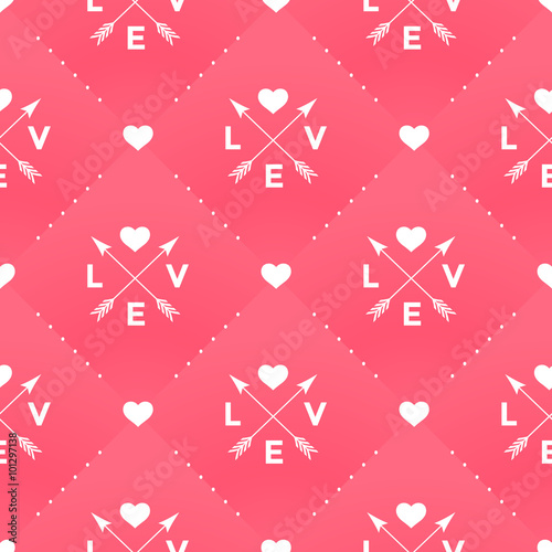 Cotton fabric Seamless white pattern with Love, heart and arrow in vintage style on a red background for Valentine's Day. Vector illustration.