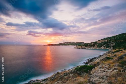 Naklejka Sunrise in Greece, Halkidiki, Sykia - Europe