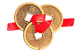 Chinese lucky coins on white