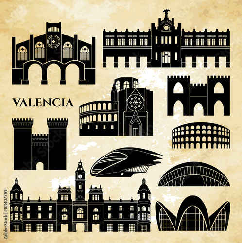 Valencia monuments detailed silhouette. Vector illustration