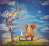 Elephant and rabbit sit on a bench on the glade