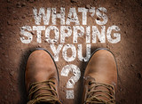 Top View of Boot on the trail with the text: Whats Stopping You? - 101328546