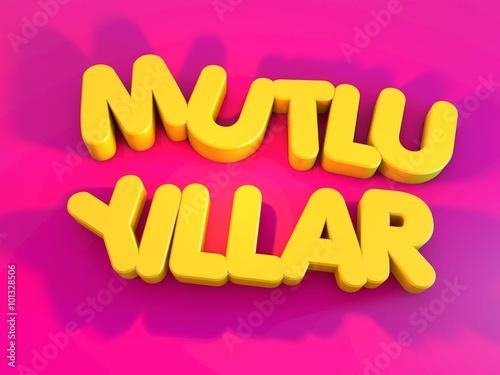 Plexiglas Roze Mutlu Yıllar, 3D Tipografi Çalışması