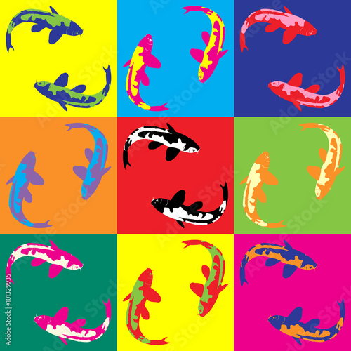 Naklejka Retro pop art illustration fish koi
