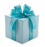 turquoise gift box with ribbon and bow isolated on a white backg - 101338313