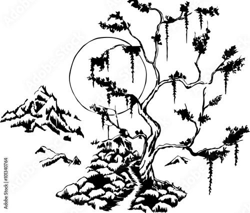 Naklejka forest_landscpae_line art
