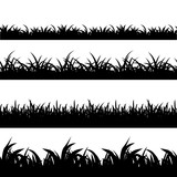 Fototapety Seamless grass black silhouette vector set. Landscape nature, plant and field monochrome illustration