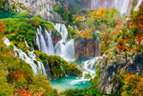 Fototapety Detailed view of the beautiful waterfalls in the sunshine in Plitvice National Park, Croatia
