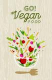 Vegetable salad preparation with vegan food label