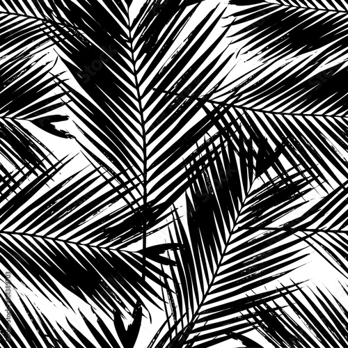 Tapeta ścienna na wymiar Palm Tree Leaves Seamless Pattern