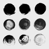 Grunge paint circle vector element set. Brush smear stain textur