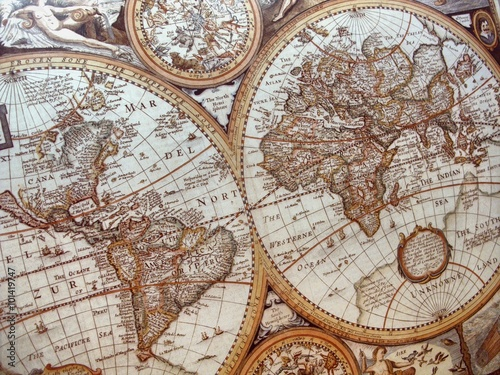 historic world map background (world map 17th century)