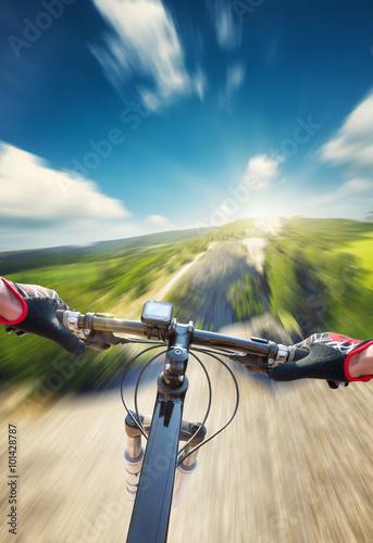 Foto op Plexiglas Motorsport Fast ride on mountain rocks. Sport and active life concept