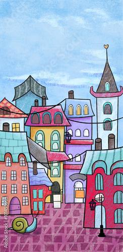 Naklejka Creative Illustration and Innovative Art: Small Town. Realistic Fantastic Cartoon Style Artwork Scene, Wallpaper, Story Background, Card Design
