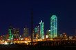 The Dallas, Texas skyline lit at night