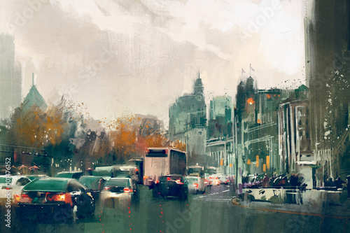painting of city street view with traffic,Shanghai The Bund © grandfailure
