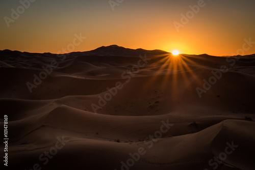 Poster Sonnenaufgang in der Wüste