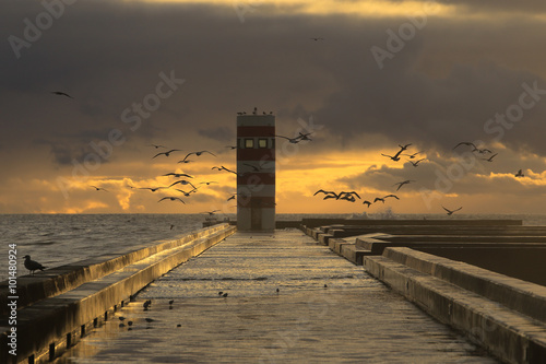 Lighthouse at sunset - 101480924