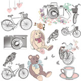 Fototapety Cute collection of vector hand drawn objects bicycles camera toy