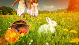 Fototapety Kinder suchen Ostereier zu Ostern auf Wiese mit Hase