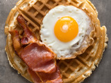 rustic savory bacon and egg waffle