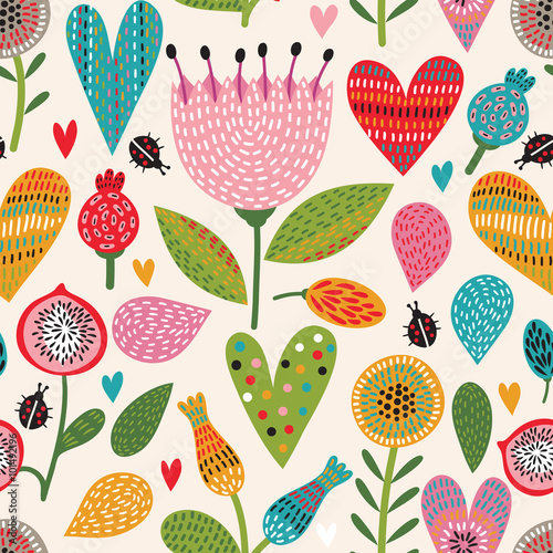 Cotton fabric Romantic floral seamless pattern