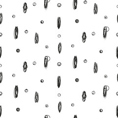 Simple imitation drawing ink point and circle scribble seamless pattern