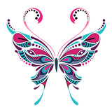 Patterned colored butterfly. African / indian / totem / tattoo design. It may be used for design of a t-shirt, bag, postcard and poster.