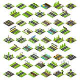 Fototapety City Map Set Tiles Isometric Vector