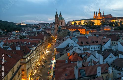 Prague, Old street in Mala Strana District at night © haidamac