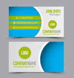 Business card set template for business identity corporate style. Green and blue color. Vector illustration.