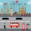 Obrazy na płótnie, fototapety, zdjęcia, fotoobrazy drukowane : London city  capital of England Great Britain vector illustratio