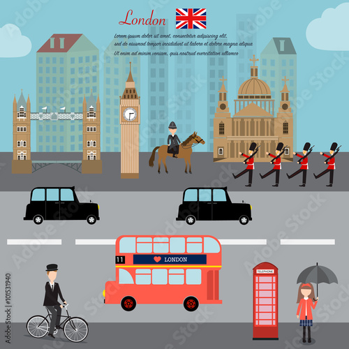 Fototapeta London city capital of England Great Britain vector illustratio