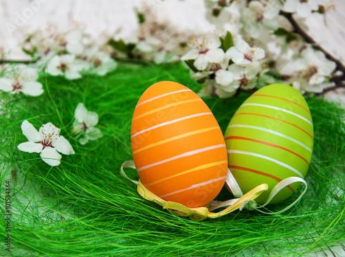 Fototapeta Easter eggs and cherries blossom