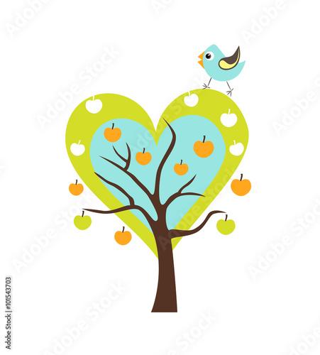 Naklejka Heart tree with Singing Bird. Stylized happy cartoon illustration. Flat color vector design. Child theme.