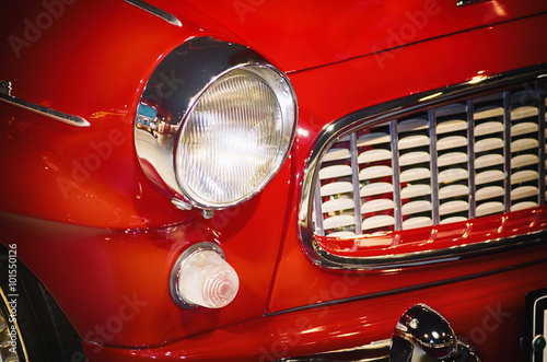 Poster, Tablou Red Car Headlight