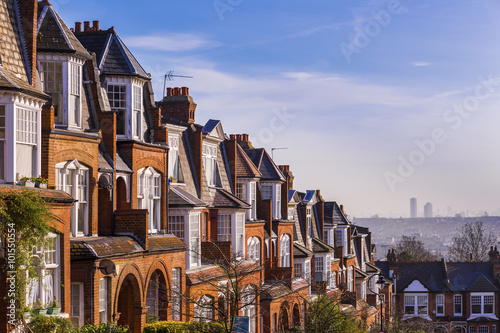 Brick houses on a panoramic shot early in the morning, London, UK Poster